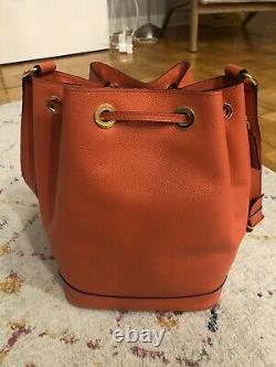 EUC Vintage Celine Bucket Bag coral red withgold hardware