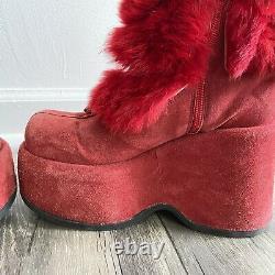El Dantes Vintage 90s Red Fur Platform Goth Boots 38/39 GUC