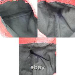 FENDI Logos Shoulder Hand Tote Bag Red Fur Italy Vintage Authentic #HH550 Y