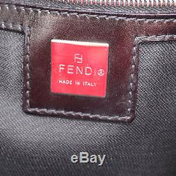 FENDI Logos Shoulder Hand Tote Bag Red Velour Italy Vintage Authentic #W508 W