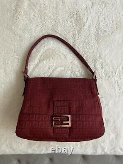 FENDI Mama Forever Bag Red Zucchino Canvas Vintage