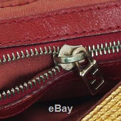 FENDI Mamma Baguette Hand Bag Purse Beige Red Linen Leather Vintage Italy A46901