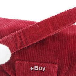 FENDI Mamma Baguette Hand Bag Purse Red Corduroy Vintage Italy Authentic AK42221