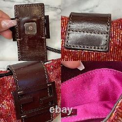 FENDI RARE Vintage Red Beaded Micro Mini & Brown Leather Logo Croissant Bag