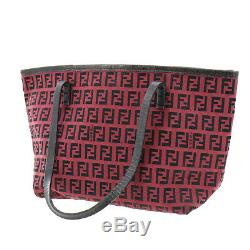 FENDI Zucca Pattern Hand Bag Red Canvas Leather Italy Vintage Auth #AB436 S