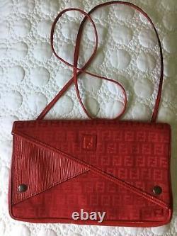 Fendi Zucca Print Flap Red Canvas Jacquard Epi Leather Vintage Bag Rare
