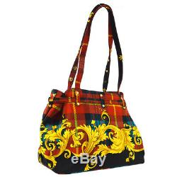 GIANNI VERSACE Baroque Pattern Shoulder Tote Bag Red Nylon Vintage AK41247