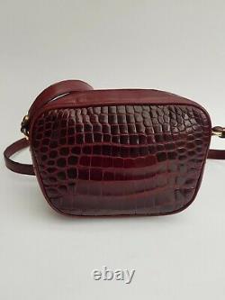 GUCCI Bag. Gucci Vintage Burgundy Crocodile Leather Shoulder Bag