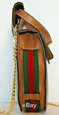 GUCCI Brown Green Red Stripe Leather Crossbody Wistlet Belt Bag Purse Vintage