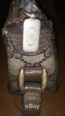 GUCCI Brown Vintage crossbody green & red stripe handbag 89-02-032 parts/repair