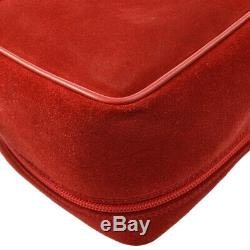 GUCCI Horsebit Cosmetic Vanity Hand Bag Red Suede Leather Vintage AK26104f
