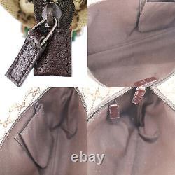 GUCCI Original GG Canvas Web Stripe Shoulder Bag Beige Vintage Auth #KK103 Y