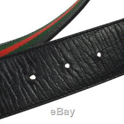 GUCCI Shelly Line Belt Green Red Canvas Leather Italy Vintage S09315f