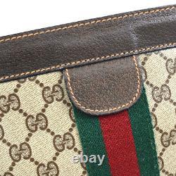 GUCCI Shelly Line Clutch Hand Bag Pouch Purse Beige Brown PVC Vintage K08731