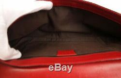 GUCCI Tom Ford Red Leather Horsebit Clutch Bag Pouch Handbag Vintage GG Logo