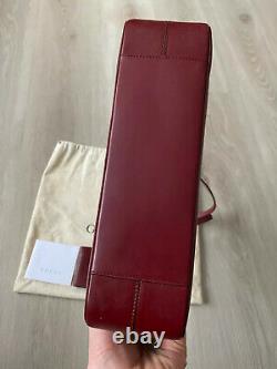 GUCCI Vintage Burgundy Calfskin Leather Shoulder Tote Bag Handbag