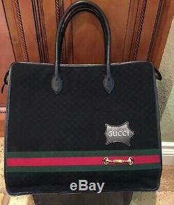 GUCCI Vintage Large Black Sherry Web Guccissima GG Canvas Tote Handbag