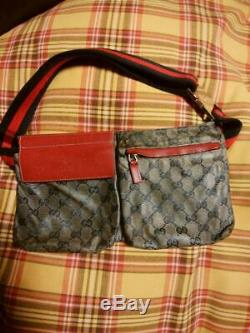 GUCCI Waist Pouch Bumbag Belt Bum Bag Fanny Pack Red Beige Used Vintage