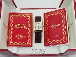 Genuine Vintage Ladies Cartier Tank Watch 18k Solid Gold Case Leather Strap