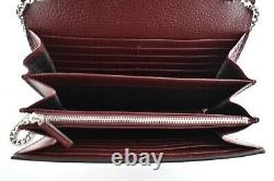 Gucci Dionysus Vintage Bordeaux Red Leather Silver Wallet On Chain Crossbody Bag