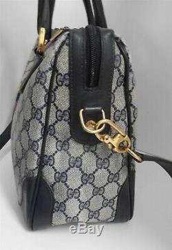 Gucci Vintage Blue GG Monogram Red Blue Stripe Large Satchel Crossbody Bag