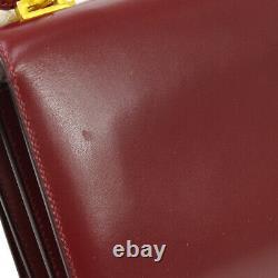 HERMES 1973's Vintage Shoulder Bag Bordeaux Box Calf Leather Authentic O03082
