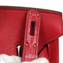 HERMES BIRKIN 30 Hand Bag M 54 E Purse Red Veau Swift Vintage France RK14223a