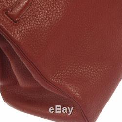 HERMES BIRKIN 35 Hand Bag Purse Red Traurillon Clemence Y 4X Vintage AK37188