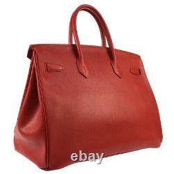 HERMES BIRKIN 35 Hand Bag Purse Red Veau Greine Couchevel A Vintage S09438
