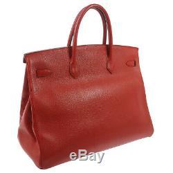 HERMES BIRKIN 40 Hand Bag Red Ardennes Vintage GHW Authentic AK36862h