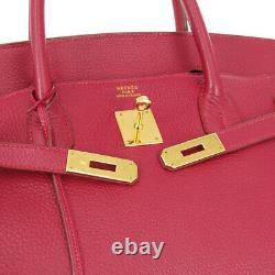 HERMES BIRKIN 40 Hand Bag X 11 Purse Red Vacette Crispee Fjord Vintage 01023