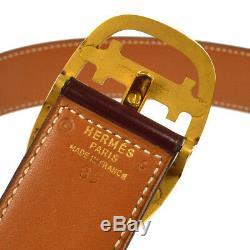 HERMES Buckle Belt Bordeaux Leather France Vintage #85 Authentic A43814g