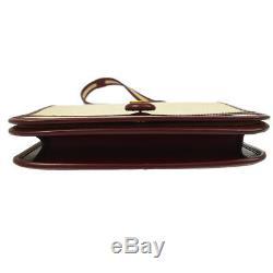 HERMES Horse Logos 2way Hand Bag Beige Bordeaux Toile H Vintage AK35533d