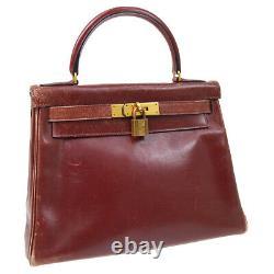 HERMES KELLY 28 RETOURNE Hand Bag Purse H Bordeaux Box Calf Vintage 32332