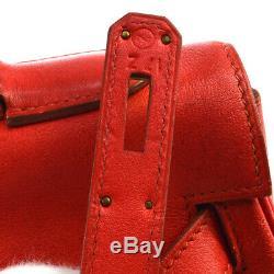 HERMES KELLY 32 RETOURNE Hand Bag Red Veau Gulliver Z Vintage NR14571