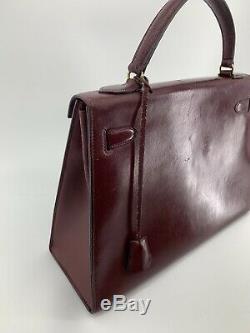 HERMES KELLY 32 Sellier Rouge H Box Calf Bag Vintage France birkin Burgundy Red