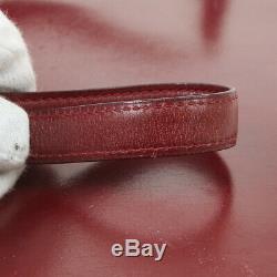 HERMES Liddy 2way Clutch Shoulder Bag Purse Burgundy Box Calf I O02894