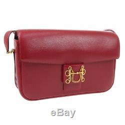 HERMES Sologne Shoulder Bag P M X Purse Red Box Calf Vintage France JT09312