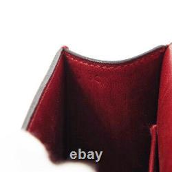HERMES Sun Motif Mini Flap Hand Bag Y 3C Red Box Calf Vintage 01453