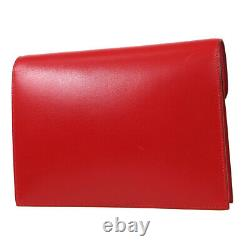 HERMES Vintage Clutch Hand Bag X 25 X Purse Red Box Calf France Authentic 80400