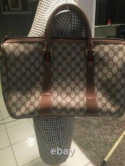 HUGE! Gucci Vintage GG Logo Monogram Canvas Leather Red Green Stripe Satchel Bag