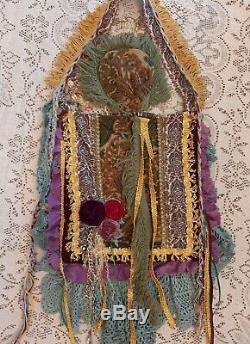 Handmade Shoulder Bag Fringe Vintage Lace Boho Fabric Gypsy Hippie Purse tmyers