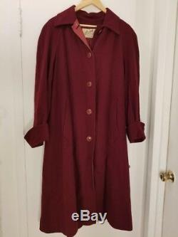 Hermes Rare Vintage Womens Paris Maroon Coat Size S