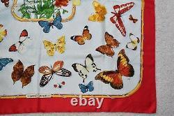 Hermes Vintage 1985 Farandole Butterfly Print Silk Scarf Red