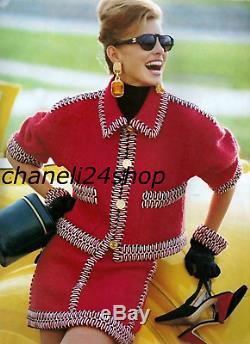 Iconic Chanel Vintage Red Wool Tweed Thick Braid Trim Jacket Skirt Suit Fr 38