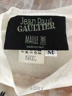 Jean Paul Gaultier Maille Femme Vintage Portrait Eye Mesh Long Sleeve Rare M