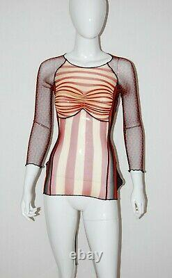 Jean Paul Gaultier Vintage Body Map Optical Illusion Cyberbaba Mesh Top