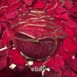 Judith Leiber Red Rose Swarovski Crystal Gold Minaudière Clutch Vintage Handbag