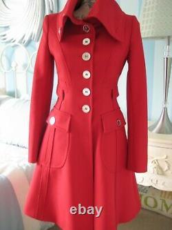Karen Millen Stunning Vintage Red Riding Coat Rare Size 14