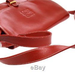 LOEWE Logos Messenger Shoulder Bag Purse Red Leather Vintage Spain AK39077